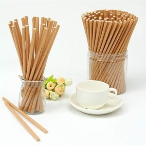 PAPER PARTY STRAWS (100 PACK) NATURAL BROWN